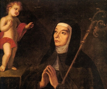 detail of a painting of Blessed Maria Angela Astorch; 17th century, artist unknown