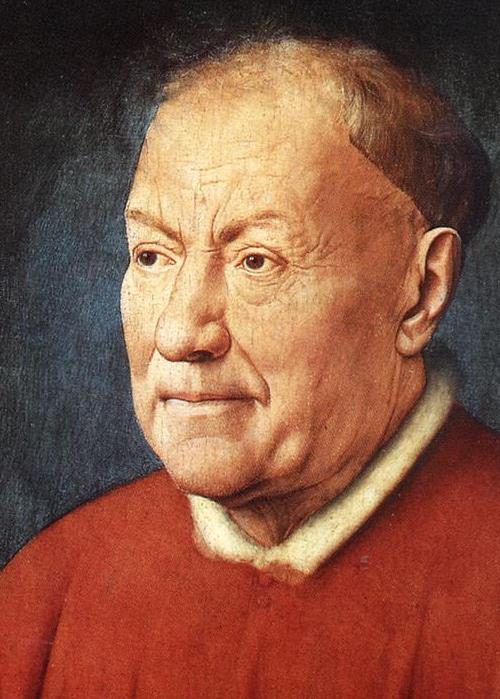 detail of 'Portrait of Cardinal Niccolò Albergati', by Jan van Eyck, 1431-1432, oil on wood, Kunsthistorisches Museum, Vienna, Austria