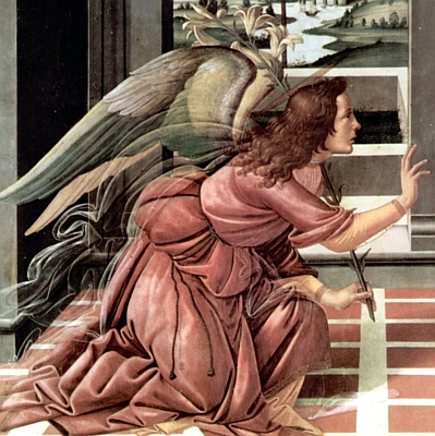 detail from 'The Annunciation', Sandro Botticelli, 1490, Galleria degli Uffizi, Florence, Italy; swiped off the Wikipedia web site