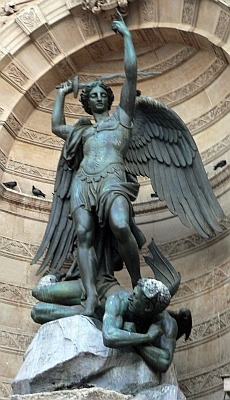 detail of the statue Michael the Archangel defeating Lucifer; Fontaine Saint-Michel, Paris, France; swiped off Wikipedia