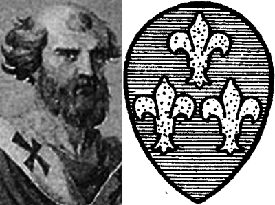 [Pope Celestine II and his coat of arms]