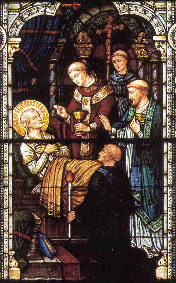 stained glass window of Pope Saint Gregory VII, artist unknown, date unknown, Saint Meinrad Abbey, Saint Meinrad, Indiana, USA; thanks to Shawn Henderson; pray for Shawn's vocation