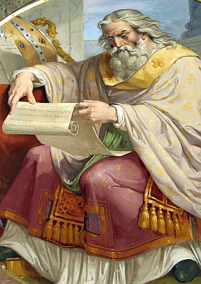 detail of a painting of Saint Ambrose of Milan; date and artist unknown; Vatican Museum, Vatican City, Rome, Italy; swiped with permission from the flickr account of Father Lawrence Lew, OP