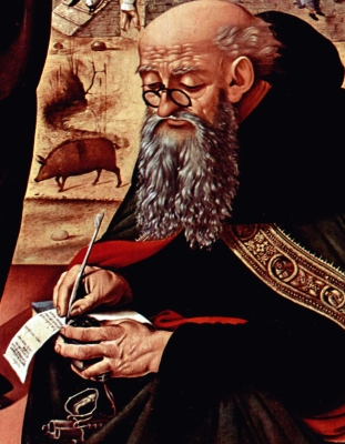 detail from a painting of Saint Anthony by Piero di Cosimo, c.1480, National Gallery of Art, Washington, DC