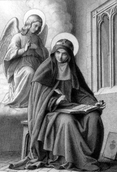 detail from an antique holy card of Saint Bridget of Sweden, artist unknown