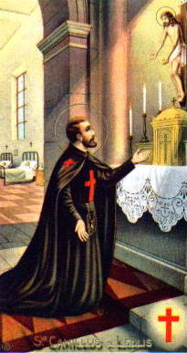 Saint Camillus de Lellis holy card, artist unknown