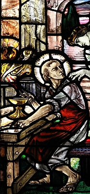 stained glass window of Saint Dunstan, artist unknown, Saint Dunstan's chapel, Leicester Cathedral, Leicester, England; swiped with permission from the flickr account of Father Lawrence Lew, OP