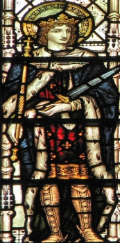 detail of a stained glass window of Saint Edward the Martyr, date unknown, artist unknown; swiped with permission from the flickr account of Brother Lawrence Lew, OP