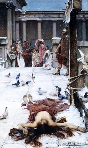 painting of the martyrdom of Saint Eulalia; John William Waterhouse, 1885, oil on canvas; Tate Collection; click for source image