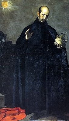 detail of a portrait of San Francisco de Borja, Alonso Cano, 1624, oil on canvas; swiped off the Wikipedia web site