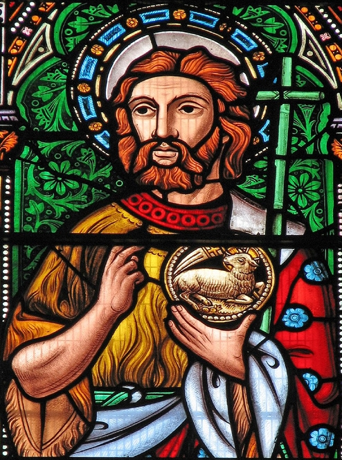 photograph of a Saint John the Baptist stained glass window, Saint Mary de Castro; swiped with permission from the flickr account of Father Lawrence Lew, OP