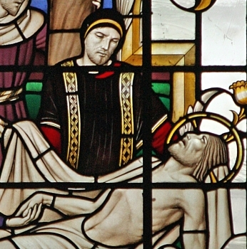 detail of a stained glass window depicting Saint Joseph of Arimathea preparing Christ for entombment; Christopher Webb, Saint James' church, Piccadilly, England; swiped with permission from the flickr account of Brother Lawrence Lew, OP