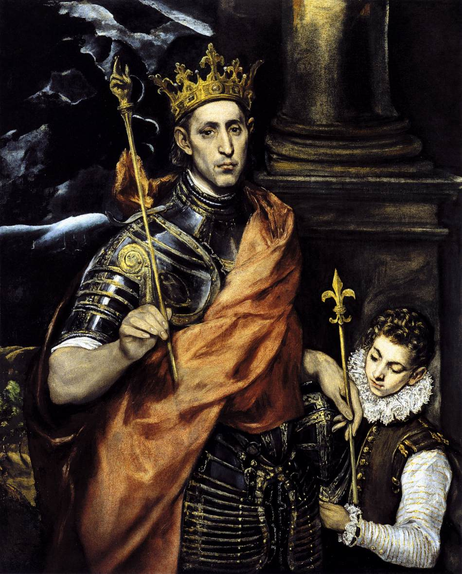 180kb jpg image of the painting 'Saint Louis, King of France, with a Page', El Greco, 1592-95, oil on canvas, Musée du Louvre, Paris, France