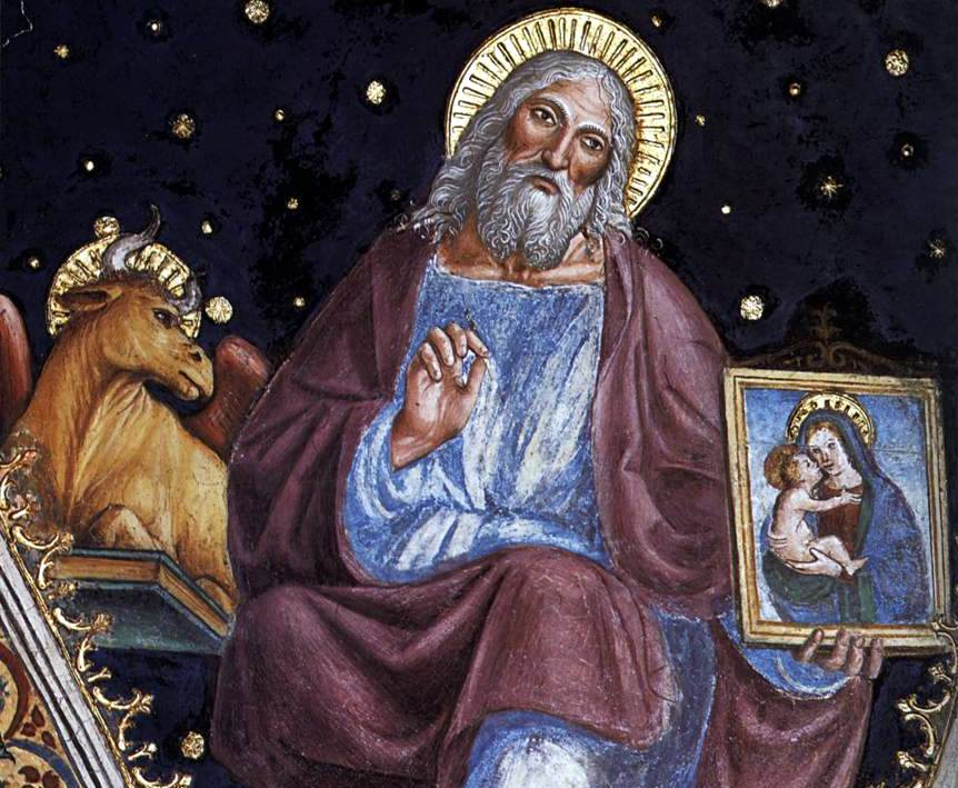 detail from a fresco of Saint Luke the Evangelist, Vincenzo Foppa, 1510's, San Maurizio al Monstero Maggiore, Milan, Italy