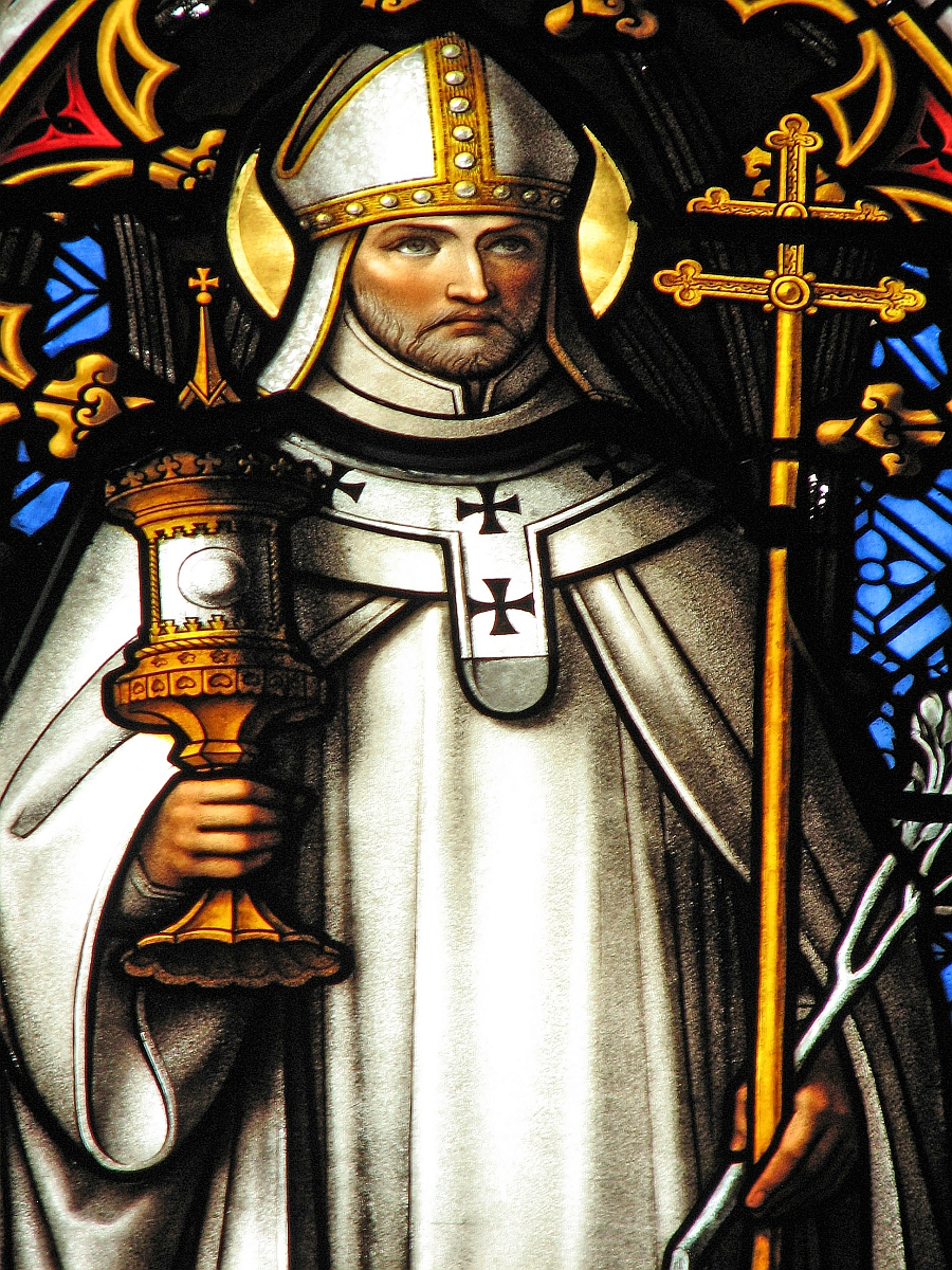 stained glass window of Saint Norbert of Xanten, by Capronnier, Skipton, England; swiped with permission off the flickr account of Father Lawrence Lew, OP
