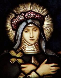 [Saint Rose of Lima wearing a crown of flowers]