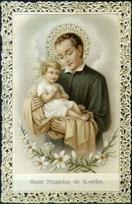 69kb jpg antique holy card of Saint Stanislaus Kostka, artist unknown