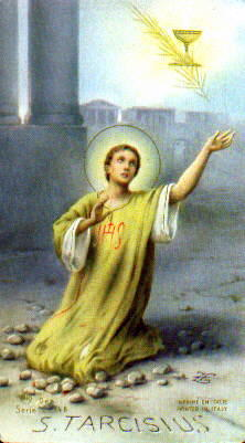 Saint Tarcisius holy card, artist unknown