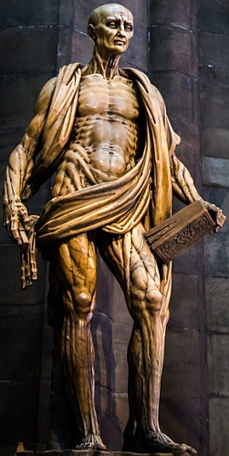 the statue 'Saint Bartholomew Flayed', by Marco d'Agrate, 1562; Milan Cathedral, Milan, Italy; photographed on 8 July 2014 by hjl; swiped from his flickr account and cropped; click for source image
