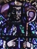 detail of a photograph of a stained glass window by Martin Hausle in a church in Liesing, Austria; swiped off the Wikipedia web site