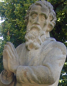 detail of a photograph of a statue of Saint Andreas Svorad, Nitra, Slovak Republic; taken on 28 June 2011 by Kenad; swiped off the Wikipedia web site