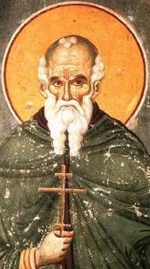 ancient Russian wall painting of Saint Athanasius the Athonite
