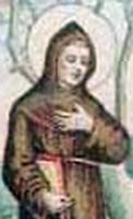 detail of antique holy card of Blessed Archangelus
