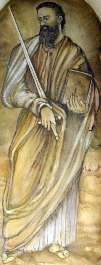 detail of a fresco of Saint Paul the Apostle; date and artist unknown; capital of the shrine of San Gottardo, Via Molinetto, Refrontolo, Italy; photographed on 18 January 2014 by Threecharlie; swiped from Wikimedia Commons; click for source image