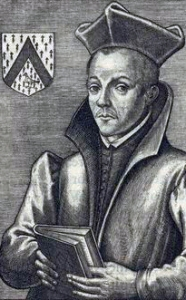 detail of a 1614 illustration of Saint Edmund Gennings from the Natio