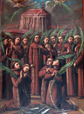 image of the 14 martyred Franciscan Friars Minor of Prague; swiped off the web site of the Parish of Our Lady of the Snows in Prague