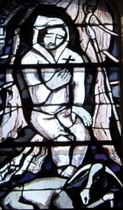 detail of a stained glass window of Saint Gerold von Großwalsertal; by Martin Häusle, date unknown; parish church in Liesing, Austria; photographed on 16 March 2007; swiped from Wikimedia Commons; click for source image