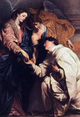 detail from the painting 'Vision of Blessed Joseph Herman'; by Anthony Van Dyck, 1629; Kunsthistorisches Museum, Vienna, Austria; swiped from Wikimedia Commons