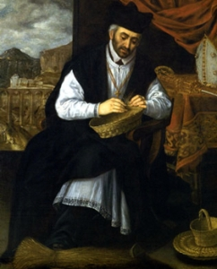 detail of a painting of Saint Julian of Cuenca by Eugenio Cajes, c.1600; swiped from Wikipedia