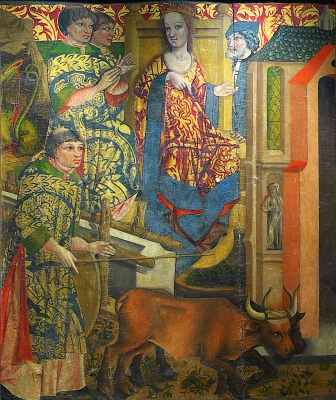 detail from The Bridge of Life and Queen Lupa, late 15th century, artist unknown; Museum of the Cathedral of Astorga, Spain; photographed in November 2014 by José Luis Filpo Cabana; swiped off Wikimedia Commons