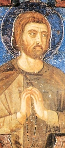 detail of a 14th century painting of Blessed Luchesius, artist unknown; swiped from Wikimedia Commons; click for source image
