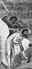 detail of an illustration of the martyrdom of Eleutherius; Menologion of Basil; swiped from Wikimedia Commons; click for source image