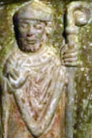 detail of a photograph of a bas-relief sculpture on the tomb of San Ramon, c.1120, sculptor unknown;  Catedral de Roda d'Isàvena; swiped off the Wikipedia web site