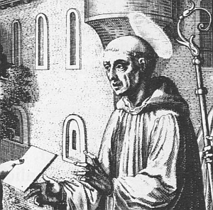 1615 illustration of Saint Regimbald of Speyer from the Bavarian Sancta; swiped off the Wikipedia web site
