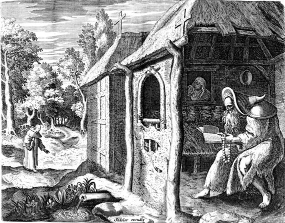 woodcut of Saint Abrham the Poor, by Jan Adeler