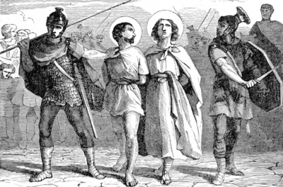illustration of Saint Nazarius and Saint Celsus being led to their martyrdom; from Pictorial Li