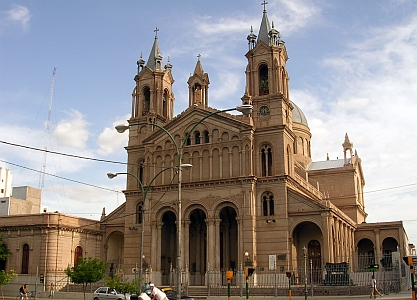 photograph of Saint Nicholas of La Rioja Cathedral, La Rioja, Argentina; taken by Elemaki in January 2007; swiped off the Wikipedia web site