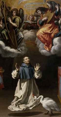 detail from the painting 'Apparition of Angel Musicians to Saint Hugh of Lincoln'; Vicente Carducho, c.1629; Museo del Prado, Madrid, Spain; swiped from Wikimedia Commons; click for source image