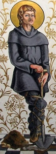 image of Saint Walstan from a rood screen in Saint Andrew's church; uploaded on 25 April 2011 by Amitchell125; swiped off the Wikipedia web site