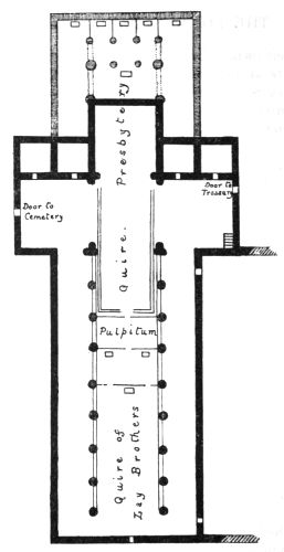 plan of typical Cistercian church showing original form and later eastern enlargement