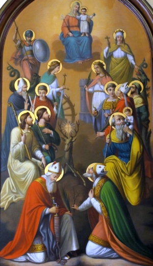 detail of the painting of the Fourteen Holy Helpers; Caroline Sorg, 1886; Chapel of Saint-Denis, Wolxheim, Alsace, Bas-Rhin, France; photographed on 5 August 2011 by Rh-67; swiped from Wikimedia Commons; click for source image