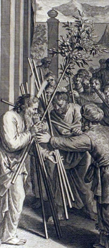 detail of an illustration of Aaron's Rod Budding as described in Numbers 17:8-10; from the 1728 Figures de la Bible, illustrated by Gerard Hoet and others, published by P. de Hondt in The Hague in 1728; image courtesy Bizzell Bible Collection, University of Oklahoma Libraries; swiped from Wikimedia Commons; click for source image