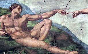 detail of the painting of Adam on the Sistine Chapel by Michelangelo