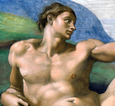 detail of the image of Adam from the Sistine Chapel by Michelangelo