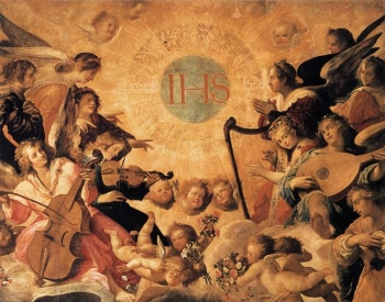 detail of the painting Adoration of the Name of Jesus, c.1604, University Chapel, Seville, Spain