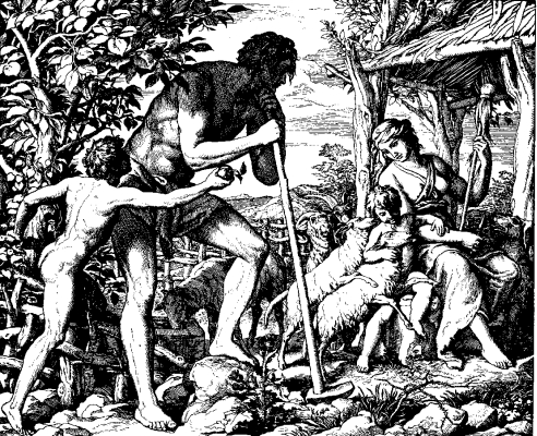 woodcut of 'Adam and Eve with their sons Cain and Abel'; published in 1860 by Julius Schnorr von Carolsfeld for 'Die Bibel in Bildern'; swiped from Wikimedia Commons